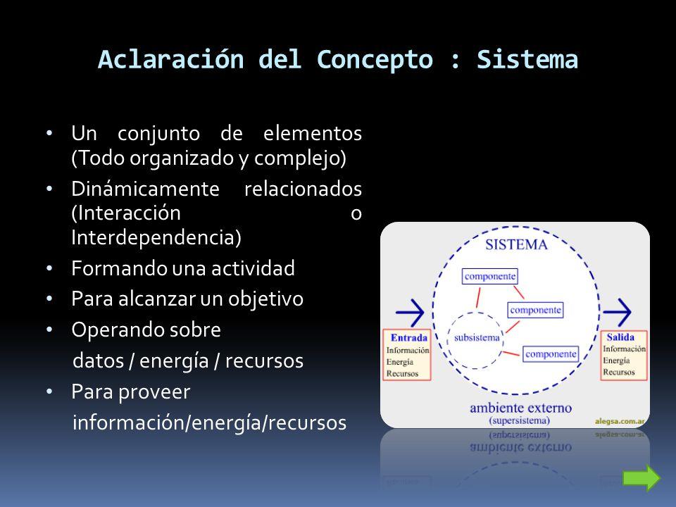 Aclaración del Concepto : Sistema