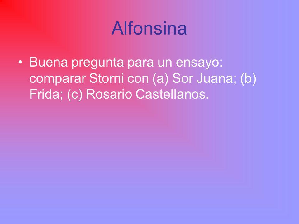 Alfonsina Buena pregunta para un ensayo: comparar Storni con (a) Sor Juana; (b) Frida; (c) Rosario Castellanos.