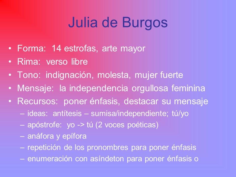 Julia de Burgos Forma: 14 estrofas, arte mayor Rima: verso libre