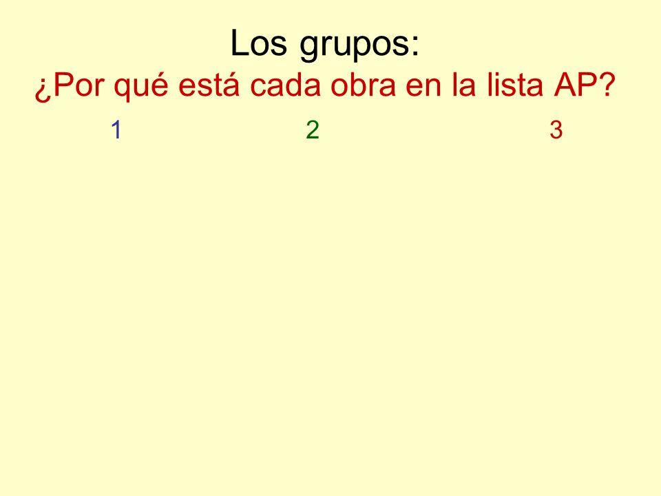 Los grupos: ¿Por qué está cada obra en la lista AP