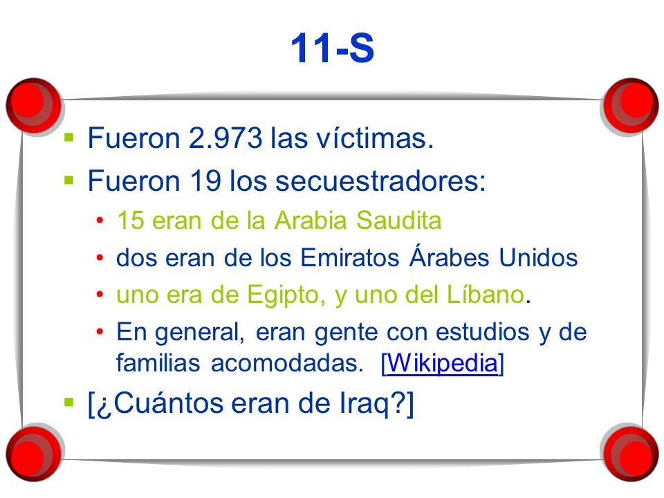 11-S Fueron 2.973 las víctimas. Fueron 19 los secuestradores:
