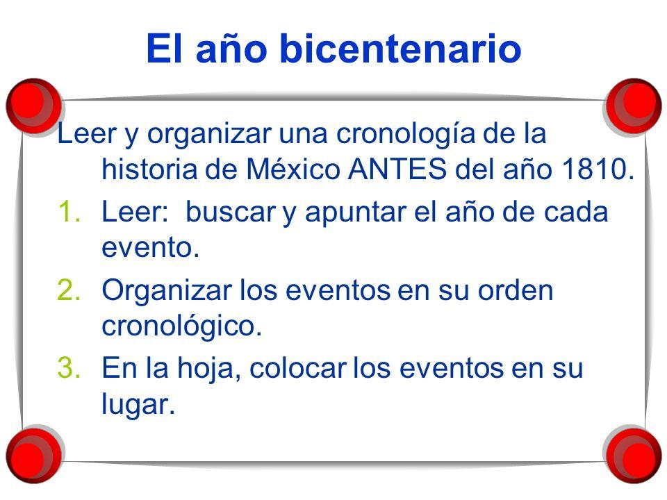 El año bicentenario Leer y organizar una cronología de la historia de México ANTES del año 1810. Leer: buscar y apuntar el año de cada evento.