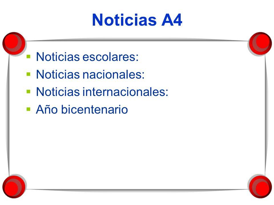 Noticias A4 Noticias escolares: Noticias nacionales: