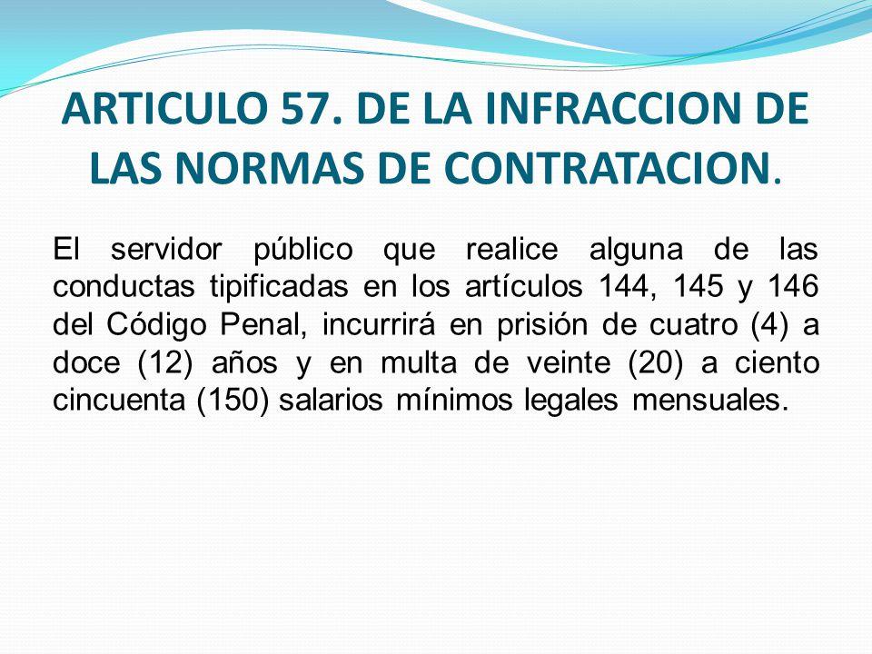 ARTICULO 57. DE LA INFRACCION DE LAS NORMAS DE CONTRATACION.