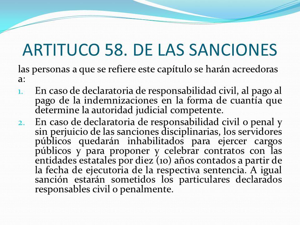ARTITUCO 58. DE LAS SANCIONES