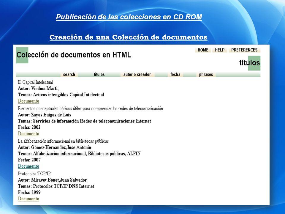 Publicación de las colecciones en CD ROM