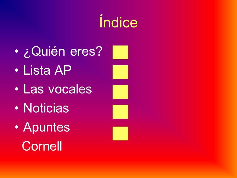 Índice ¿Quién eres Lista AP Las vocales Noticias Apuntes Cornell