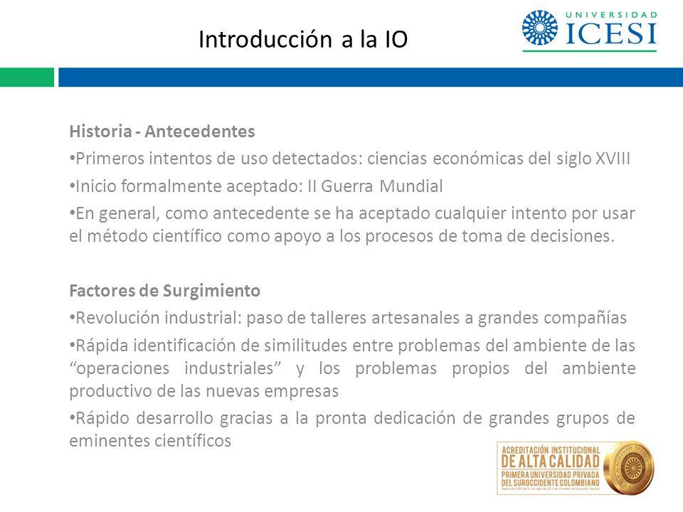 Introducción a la IO Historia - Antecedentes