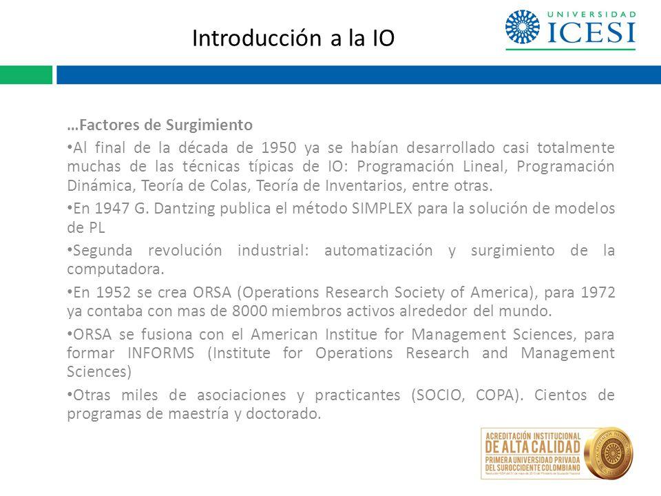 Introducción a la IO …Factores de Surgimiento