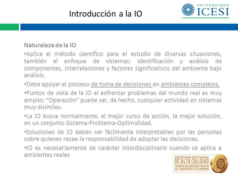 Introducción a la IO Naturaleza de la IO