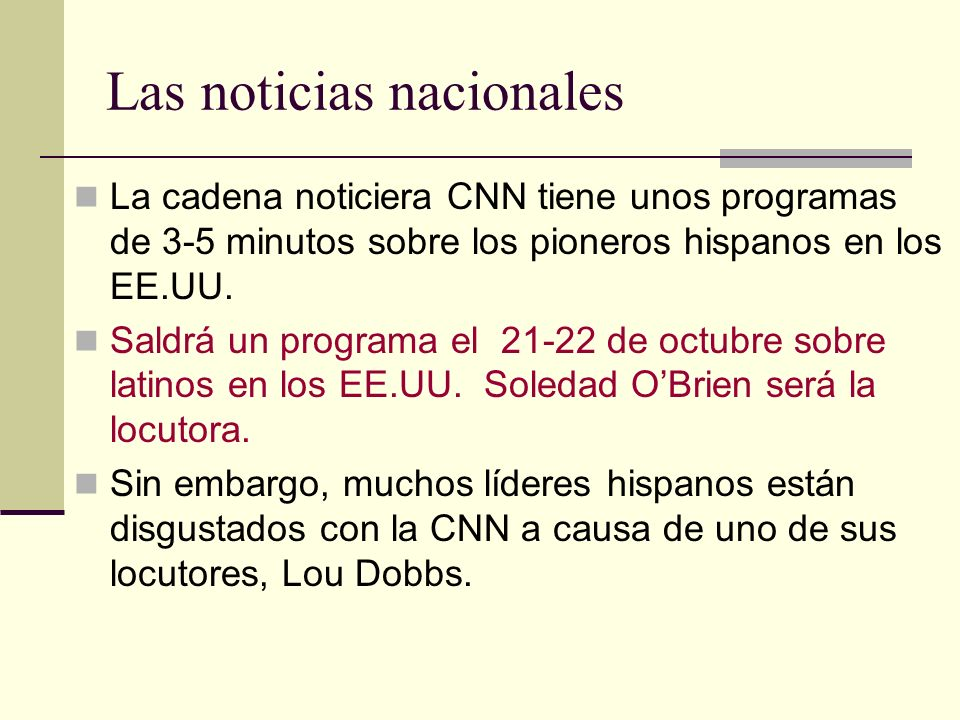 Las noticias nacionales