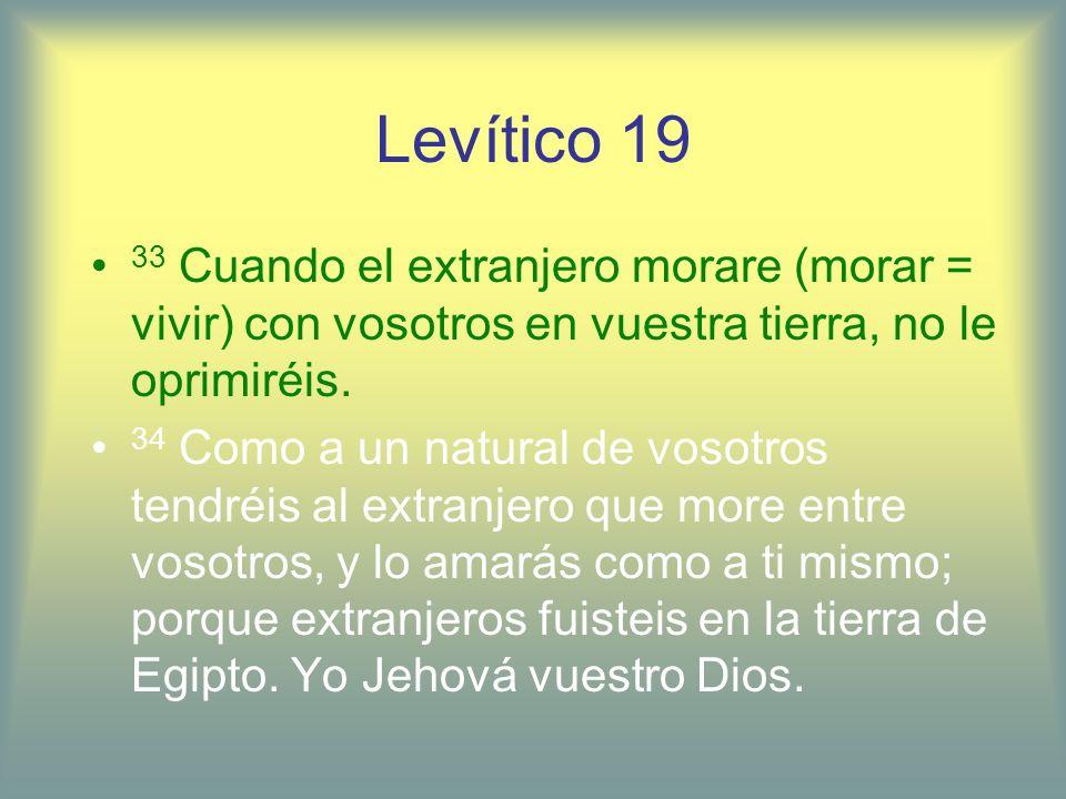 Levítico 1933 Cuando el extranjero morare (morar = vivir) con vosotros en vuestra tierra, no le oprimiréis.