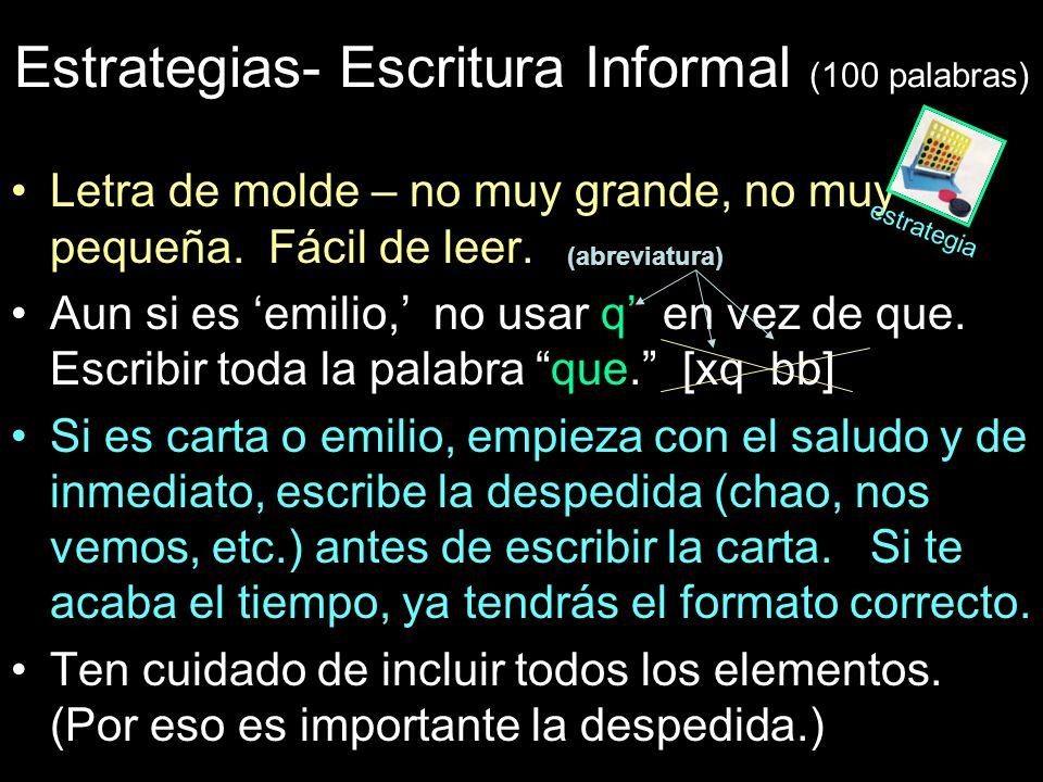 Estrategias- Escritura Informal (100 palabras)