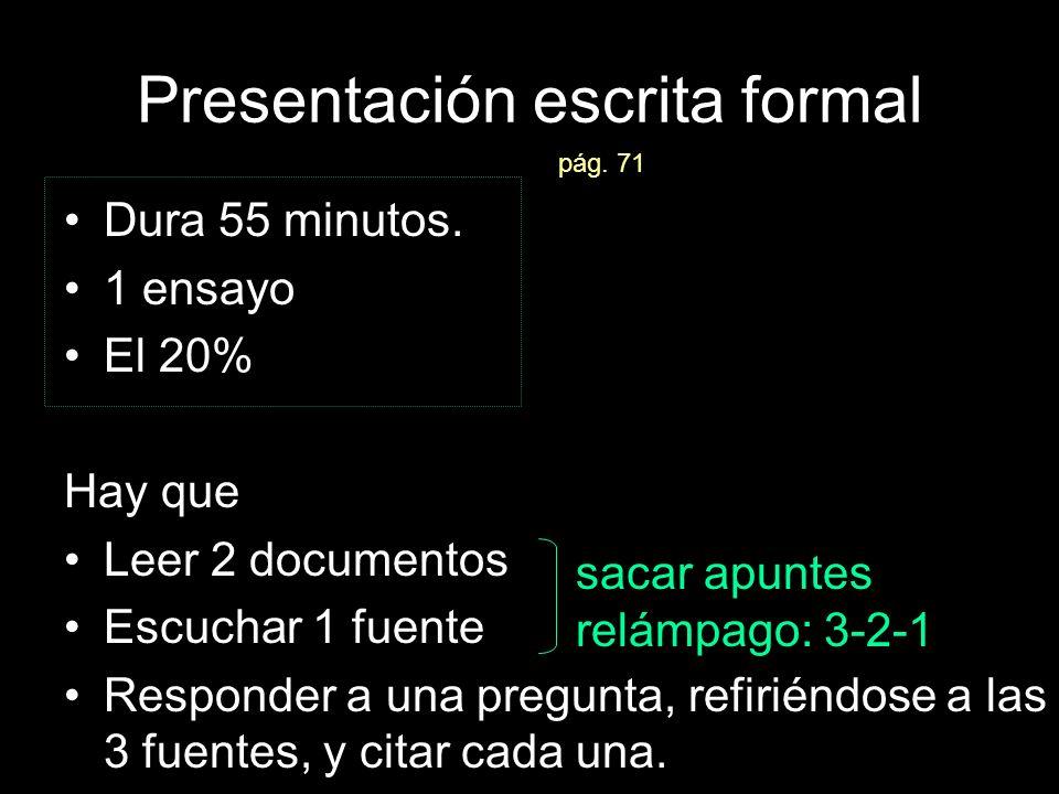 Presentación escrita formal