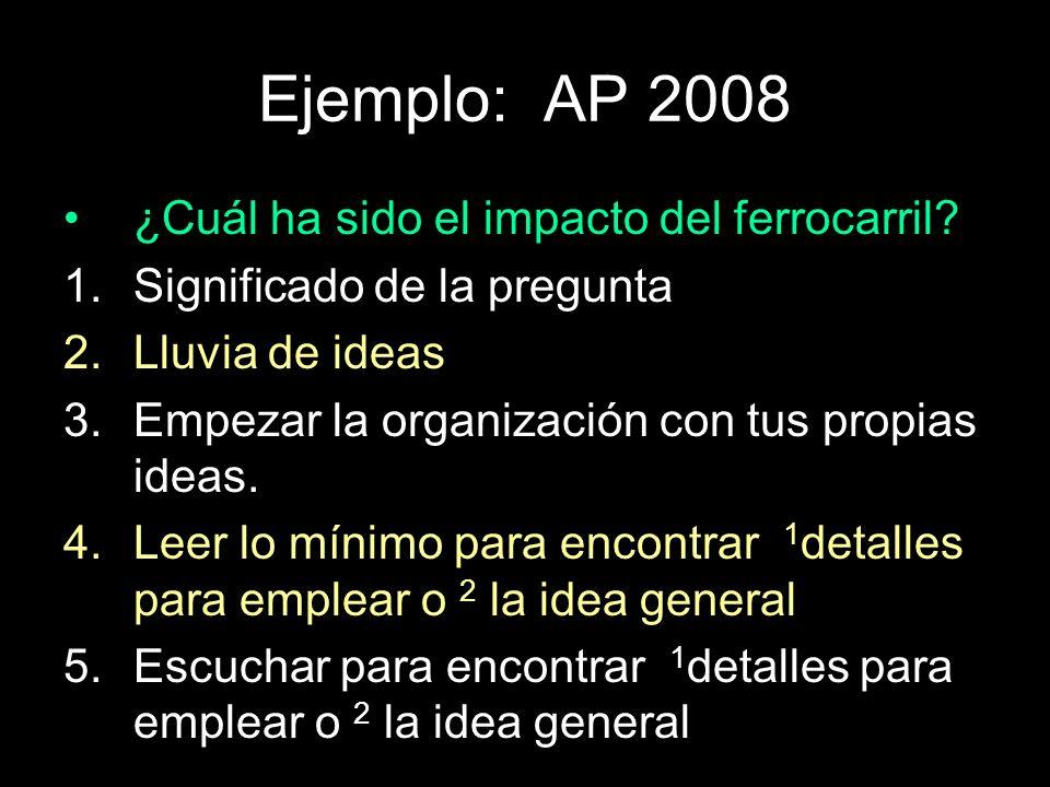 Ejemplo: AP 2008 ¿Cuál ha sido el impacto del ferrocarril