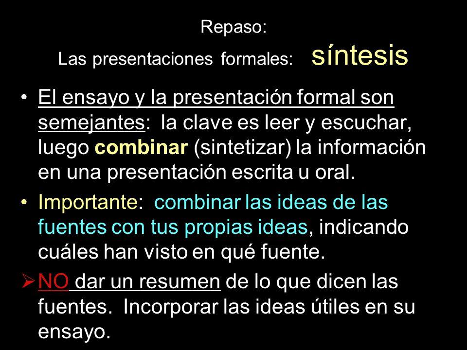 Repaso: Las presentaciones formales: síntesis