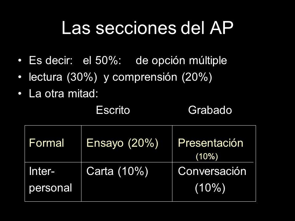 Las secciones del AP Es decir: el 50%: de opción múltiple