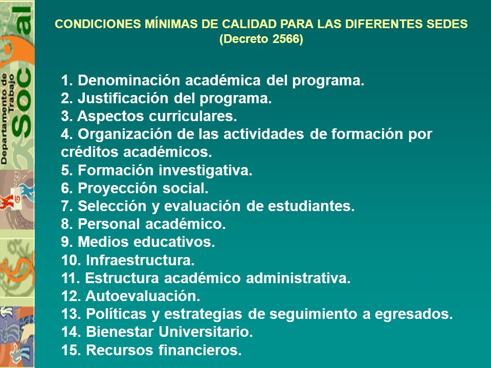 1. Denominación académica del programa. 2. Justificación del programa.