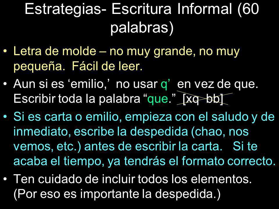 Estrategias- Escritura Informal (60 palabras)
