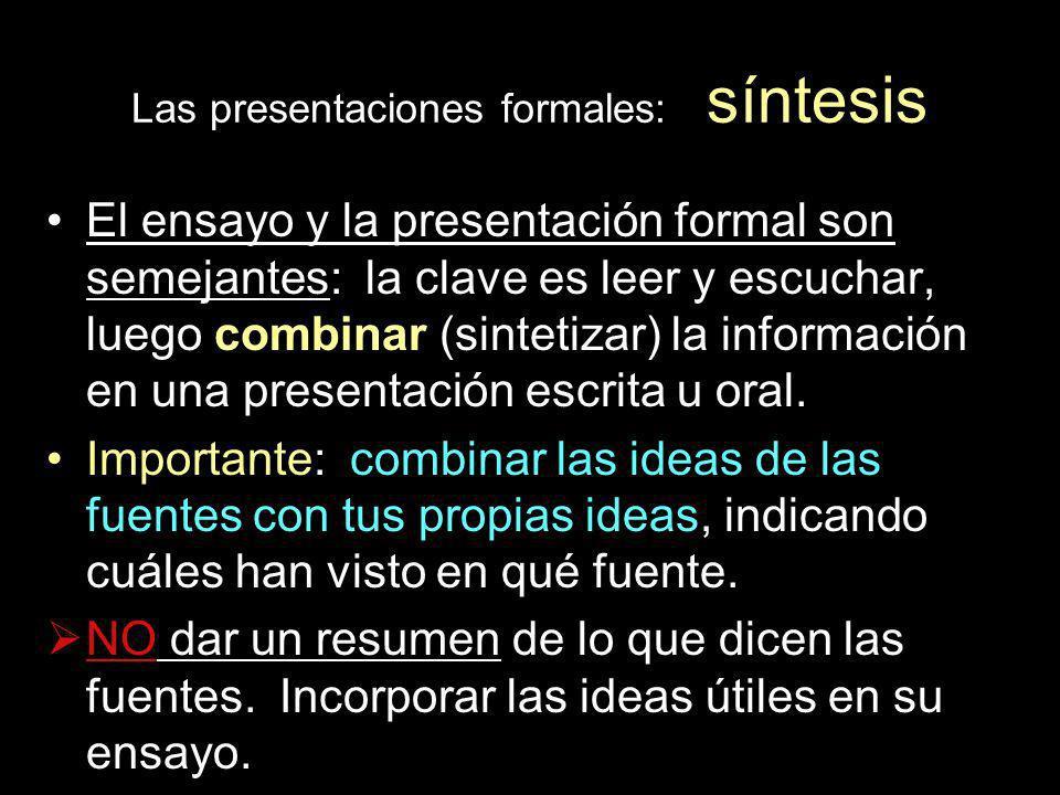 Las presentaciones formales: síntesis