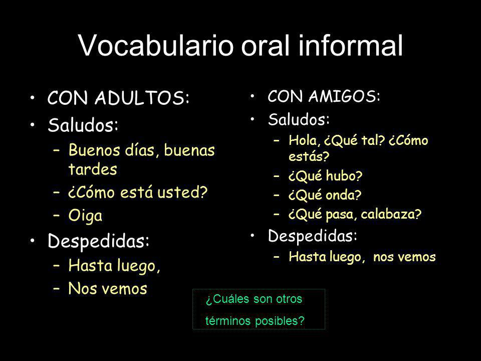 Vocabulario oral informal