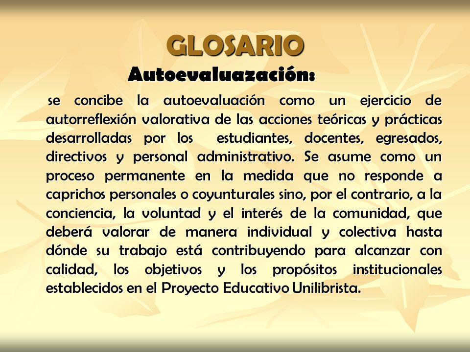 GLOSARIO Autoevaluazación: