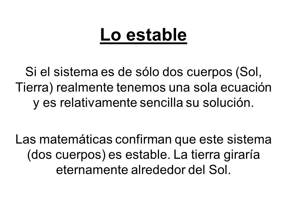 Lo estable Si el sistema es de sólo dos cuerpos (Sol, Tierra) realmente tenemos una sola ecuación y es relativamente sencilla su solución.