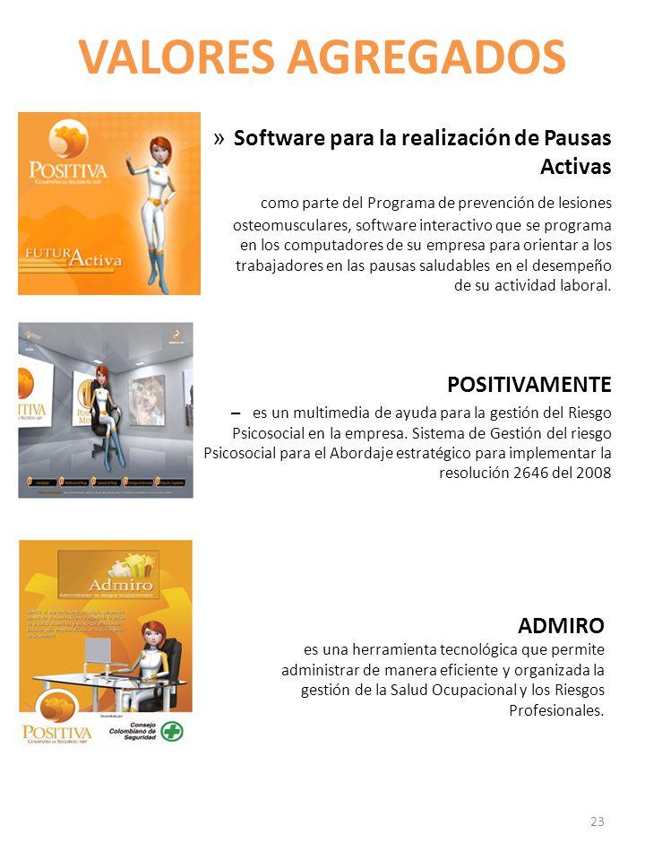VALORES AGREGADOS Software para la realización de Pausas Activas