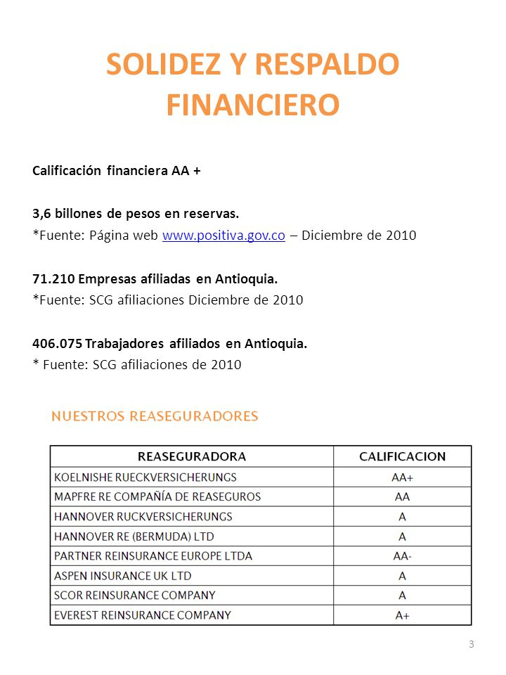 SOLIDEZ Y RESPALDO FINANCIERO