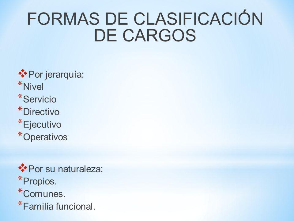 FORMAS DE CLASIFICACIÓN DE CARGOS