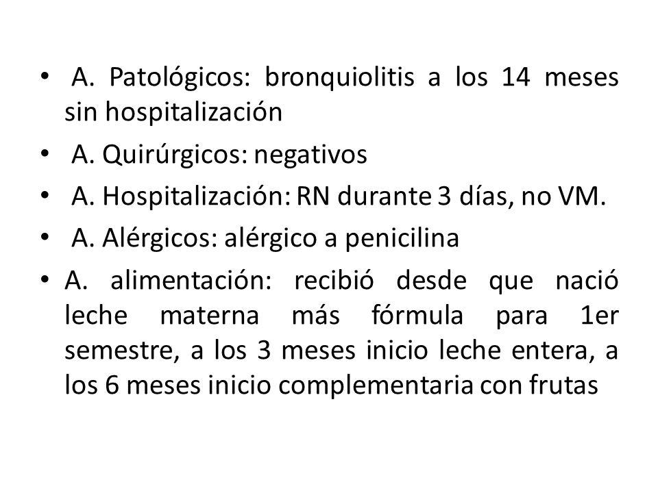 A. Patológicos: bronquiolitis a los 14 meses sin hospitalización