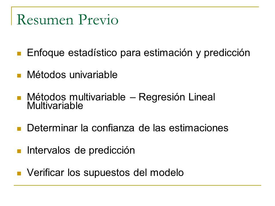Resumen Previo Enfoque estadístico para estimación y predicción