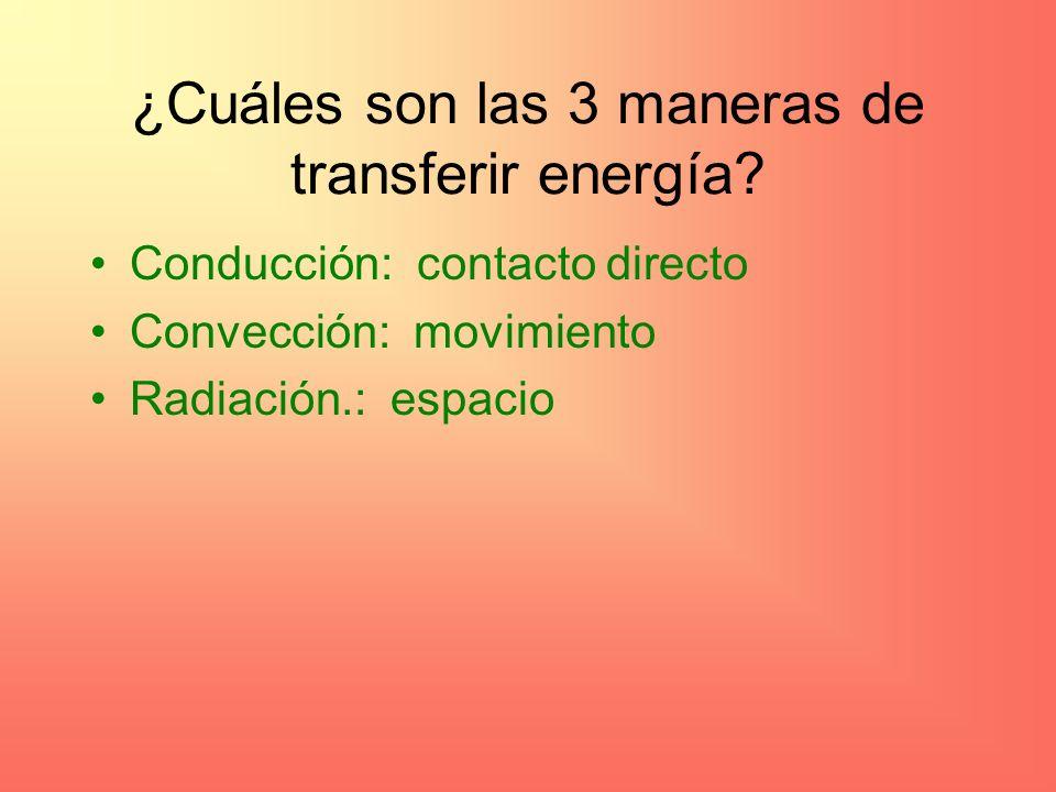 ¿Cuáles son las 3 maneras de transferir energía