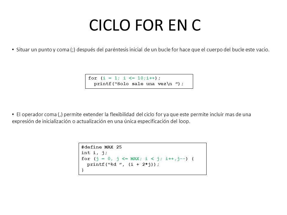 CICLO FOR EN C Situar un punto y coma (;) después del paréntesis inicial de un bucle for hace que el cuerpo del bucle este vacio.