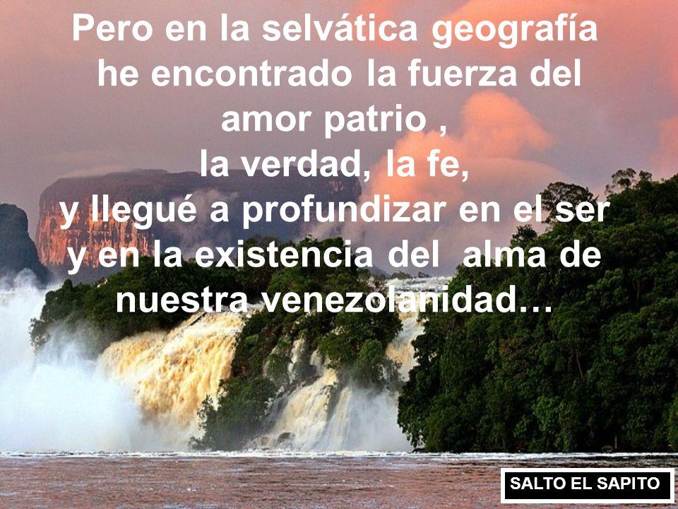 Pero en la selvática geografía he encontrado la fuerza del amor patrio , la verdad, la fe, y llegué a profundizar en el ser y en la existencia del alma de nuestra venezolanidad…