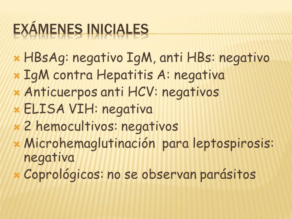 Exámenes iniciales HBsAg: negativo IgM, anti HBs: negativo