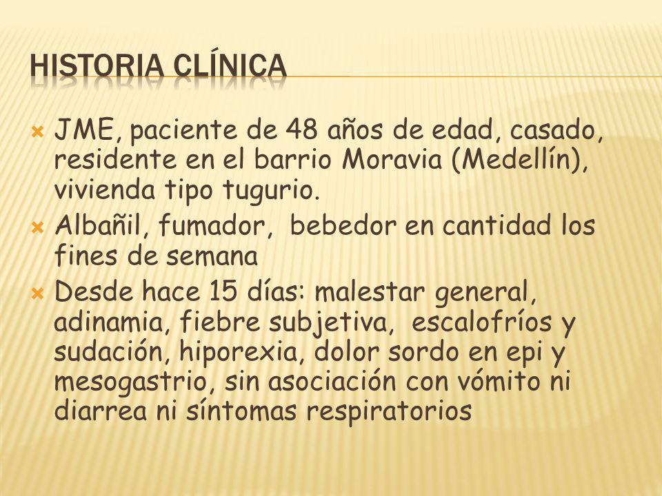 Historia clínica JME, paciente de 48 años de edad, casado, residente en el barrio Moravia (Medellín), vivienda tipo tugurio.