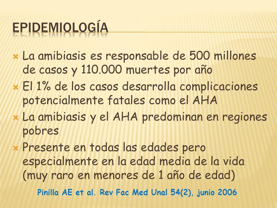 Epidemiología La amibiasis es responsable de 500 millones de casos y 110.000 muertes por año.
