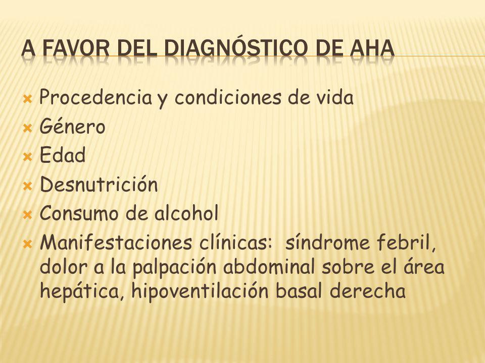 A favor del diagnóstico de AHA