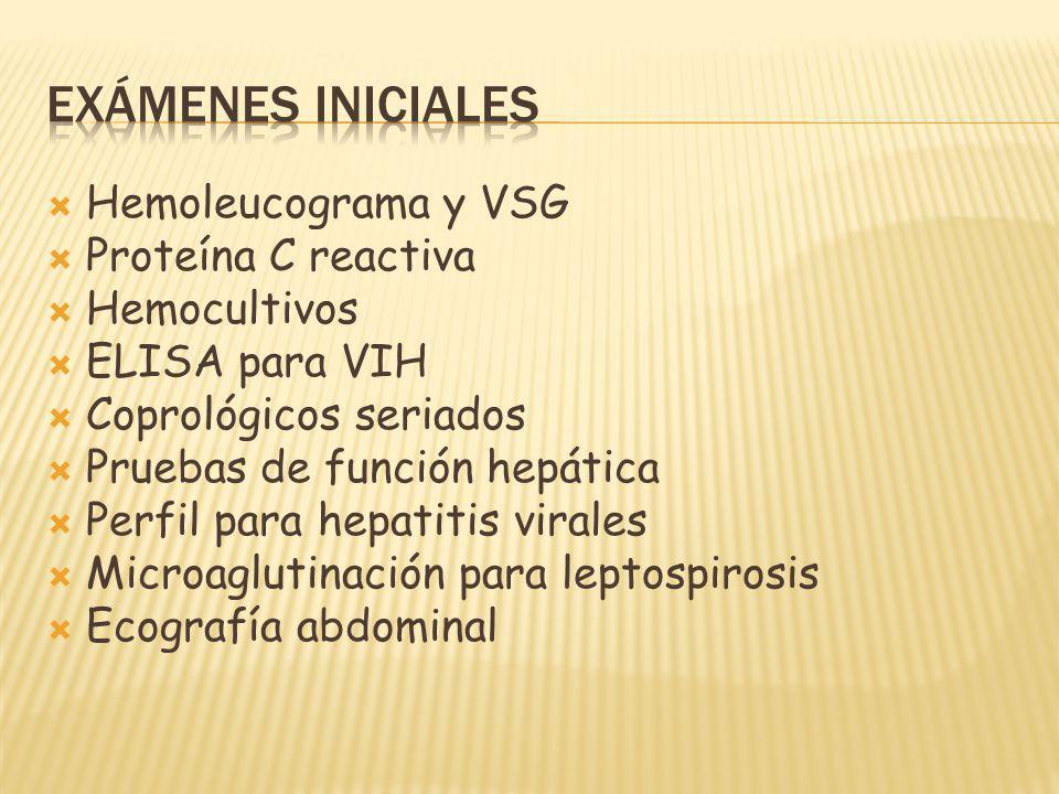 Exámenes iniciales Hemoleucograma y VSG Proteína C reactiva