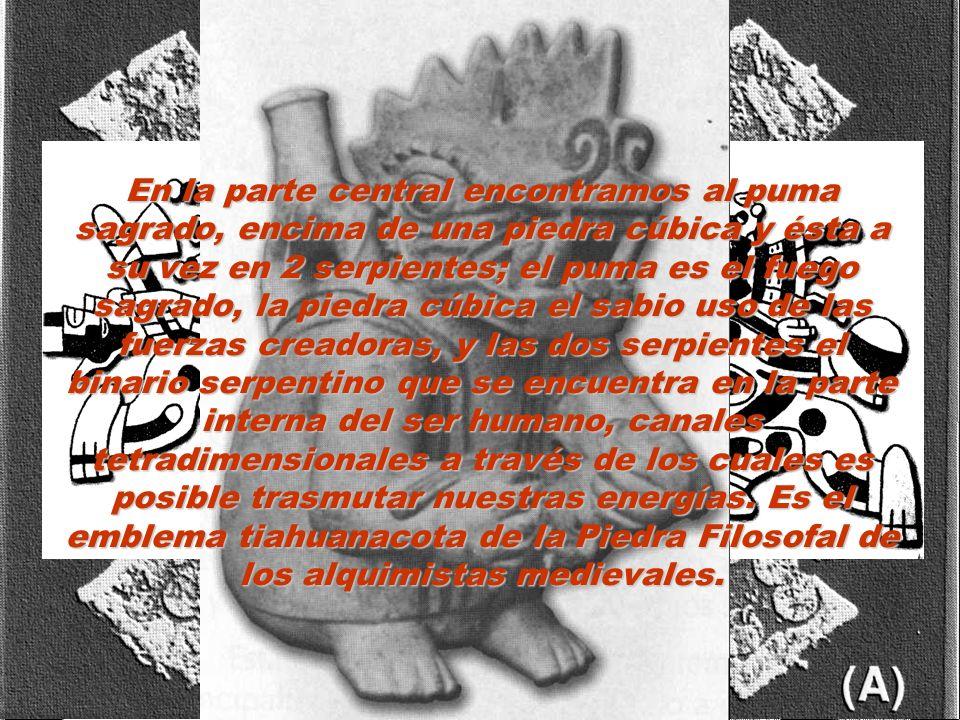 En la parte central encontramos al puma sagrado, encima de una piedra cúbica y ésta a su vez en 2 serpientes; el puma es el fuego sagrado, la piedra cúbica el sabio uso de las fuerzas creadoras, y las dos serpientes el binario serpentino que se encuentra en la parte interna del ser humano, canales tetradimensionales a través de los cuales es posible trasmutar nuestras energías.