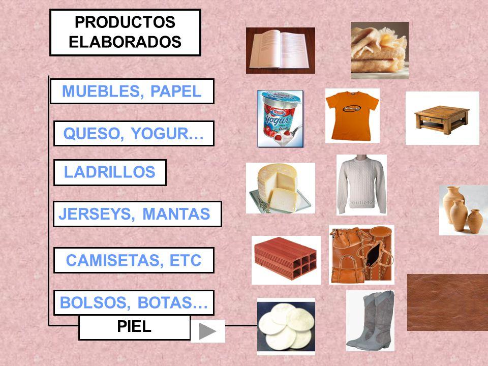PRODUCTOS ELABORADOS MUEBLES, PAPEL QUESO, YOGUR… LADRILLOS