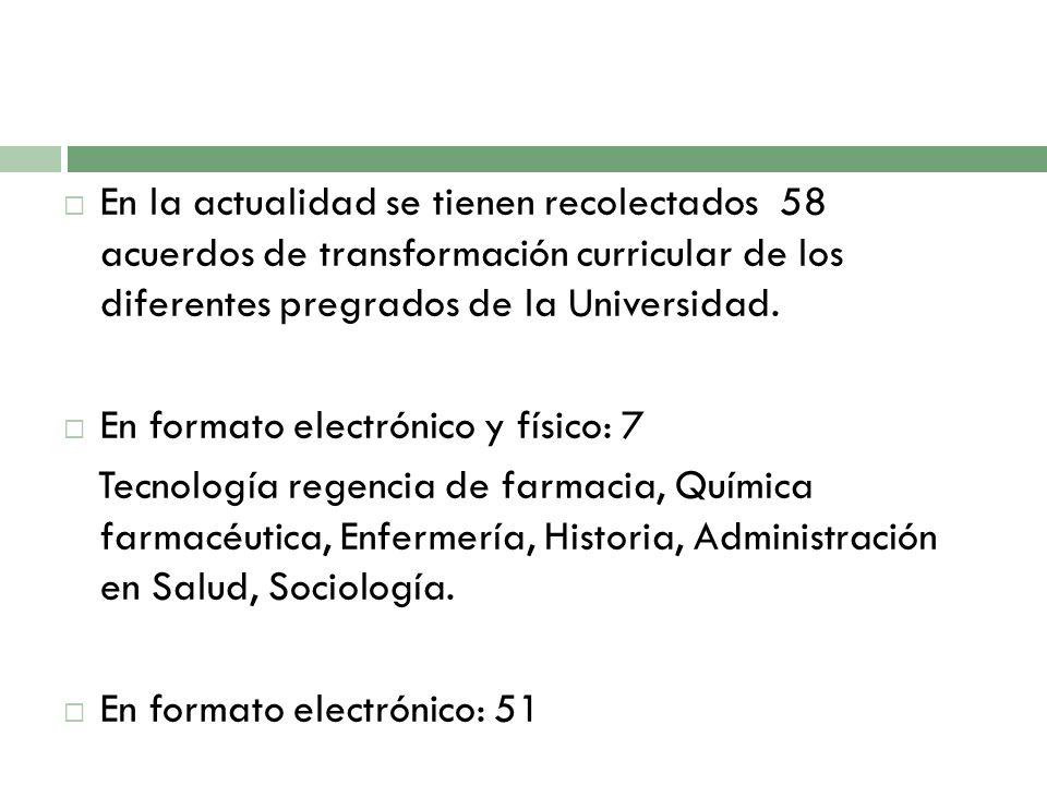 En la actualidad se tienen recolectados 58 acuerdos de transformación curricular de los diferentes pregrados de la Universidad.