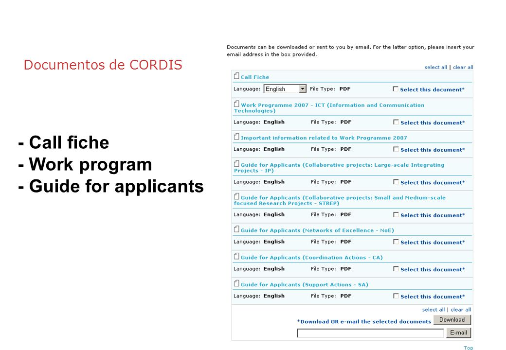 - Call fiche - Work program - Guide for applicants