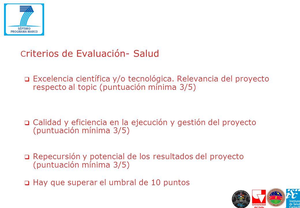 Criterios de Evaluación- Salud