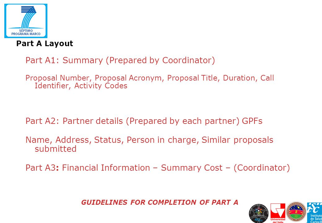 GUIDELINES FOR COMPLETION OF PART A