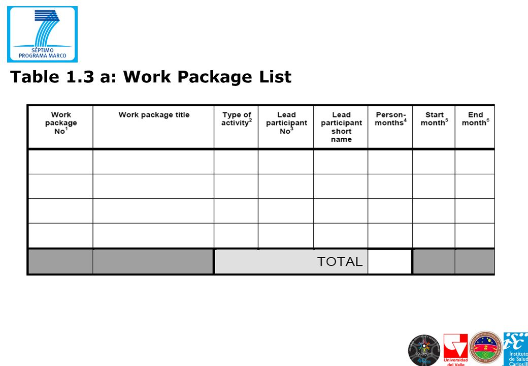 Table 1.3 a: Work Package List