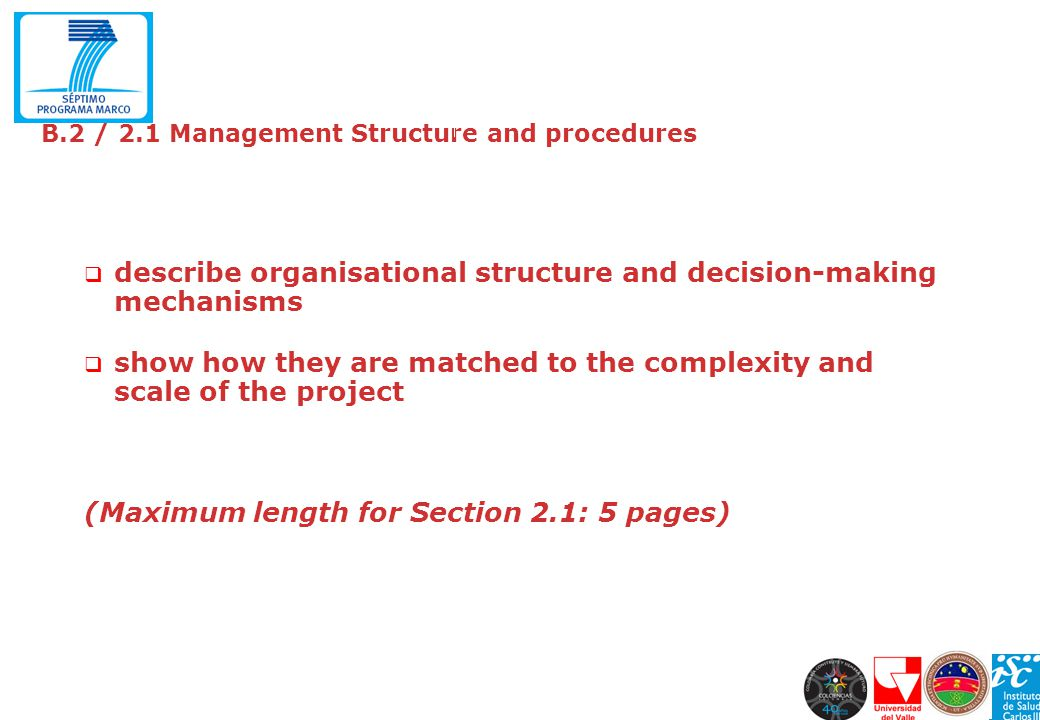 B.2 / 2.1 Management Structure and procedures