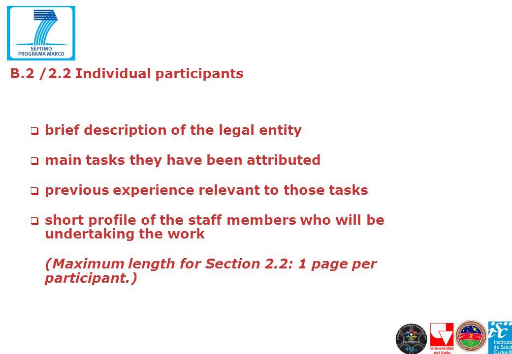 B.2 /2.2 Individual participants