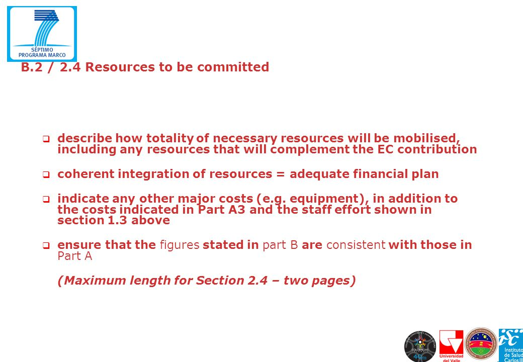 B.2 / 2.4 Resources to be committed